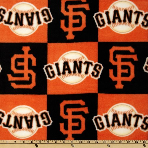 Fabric Traditions MLB Fleece San Francisco Giants Blocks Orange/Black Fabric by The ()
