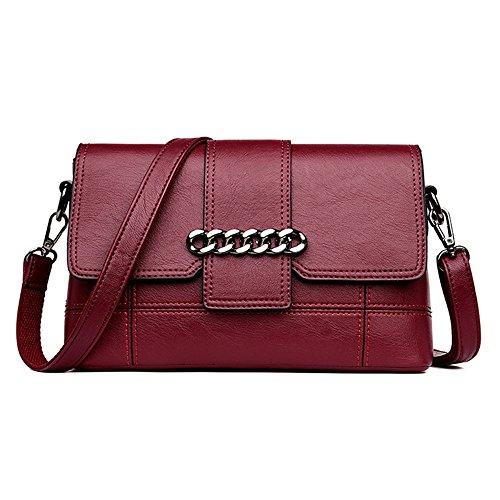 Simple chaîne magnétique rétro décoré PU carré Sac à bandoulière Messenger Bag, vin Rouge Loisirs