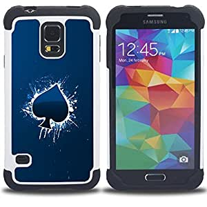 - Cool Blue Ace Of Spade/ H??brido 3in1 Deluxe Impreso duro Soft Alto Impacto caja de la armadura Defender - SHIMIN CAO - For Samsung Galaxy S5 I9600 G9009 G9008V