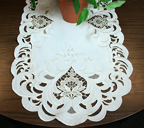 Embroidered Cream Lace Flower Table Runner 15 by 34 Inch