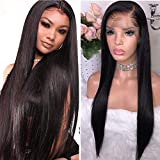 Maxine Hair 9A Virgin Hair Lace Front Wig Brazilian Remy Human Hair Straight Lace Front Wigs For Black Women 130% Density with Adjustable Straps Naturl Color 22inch