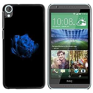 Qstar Arte & diseño plástico duro Fundas Cover Cubre Hard Case Cover para HTC Desire 820 ( Rose White Blue Blossom Black Flower Nature)