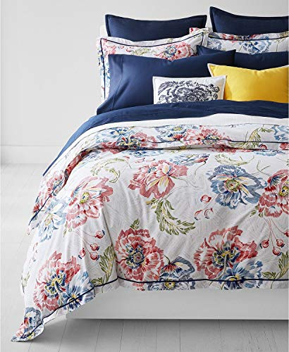 Ralph Lauren Isadora Floral Full / Queen Duvet Cover with Pillow Shams - Set 3 Piece Red Blue Green Black White (Ralph Lauren Bedding Queen)