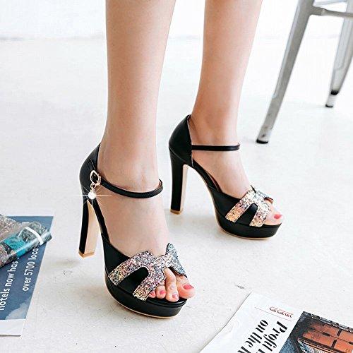 Bedel Voet Dames Elegant Platform Lovertjes Gesp Hoge Hakken Sandalen Zwart