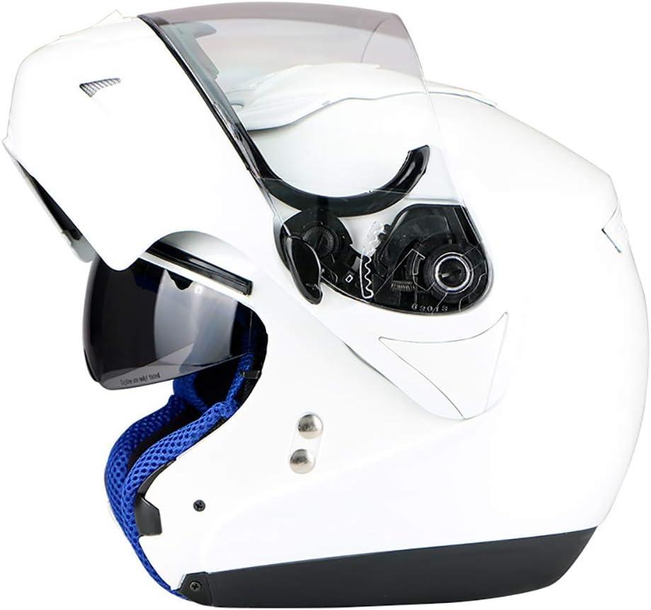 Mmsww Genuina Pegasus Motocicleta Deportes Coche De Alta Gama De Doble Lente Casco Completo Casco Cara-Arriba con Bloqueo De Lente,White,M