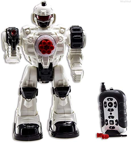WolVol 10 Channel Remote Control Robot Police Toy with Flashing Lights and Sounds, Great Action Toy for Boys