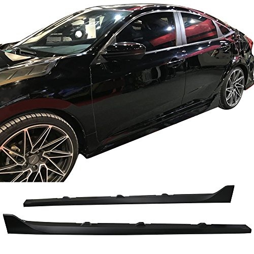 - Side Skirts Fits 2016-2018 Honda Civic | Unpainted Black Poly-propylene PP Sport Step Extensions Bottom Line By IKON MOTORSPORTS | 2017