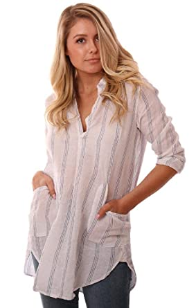7a5558a11f9 CP SHADES Tops V Neck Lightweight Rolled Sleeve Striped Linen Coverup -  Blue/White -
