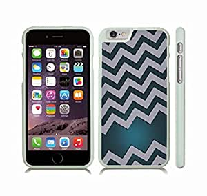 Case Cover For Apple Iphone 6 Plus 5.5 Inch with Chevron Pattern Aquamarine Gradient Grey Stripe Snap-on Cover, Hard Carrying Case (White)