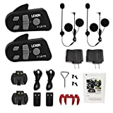 LEXIN 2x LX-T2 BT Interphone Motorcycle Helmet Communication Bluetooth Intercom, Motorbike Headset System with Advanced Technology Removes Wind Noise, 2 Riders Communicator