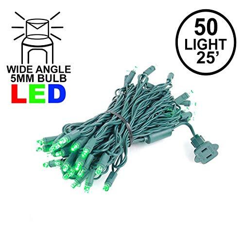 Novelty Lights 50 Light LED Christmas Mini Light Set, Outdoor Lighting Party Patio String Lights, Green, Green Wire, 25 Feet