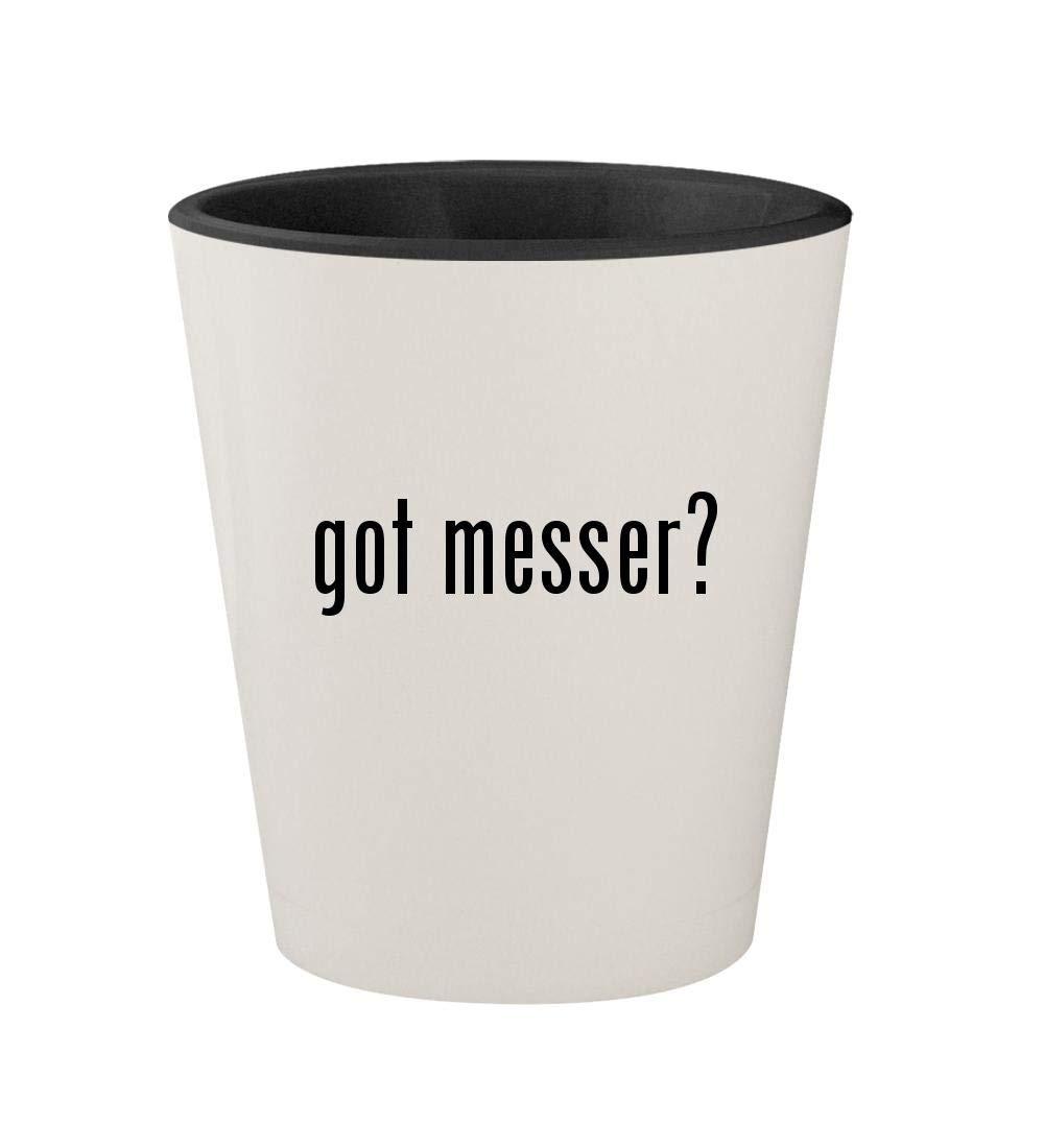 got messer? - Ceramic White Outer & Black Inner 1.5oz Shot Glass
