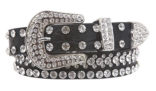 Western Rhinestone Black Belt (Kids 1 1/16