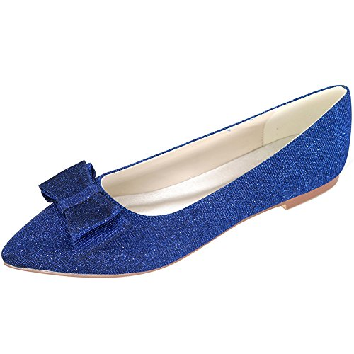 Loslandifen Womens Elegant Glitter Pionted Teen Wedding Ballet Flats Dress Shoes (2046-09c37, Blue)