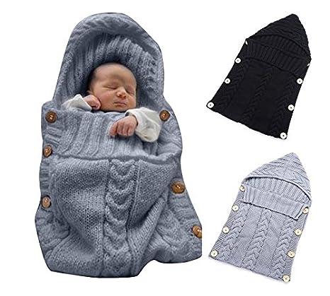 jiaqinsheng recién nacido Wrap Manta para bebé manta de punto lana Saco de dormir Saco Silla