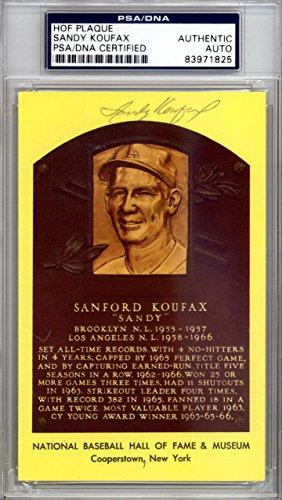 Sandy Koufax Autographed Signed HOF Plaque Postcard Dodgers #83971825 PSA/DNA Certified MLB Cut Signatures