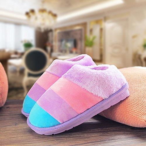Cotone fankou pantofole pacchetto femmina con spessi inverno coppie uomini e rimanere anti-slittamento inverno caldo cotone trascina e scarpe Indoor ,40/41, Azzurro