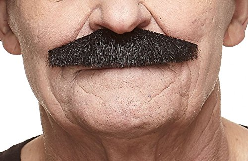 Mustaches Self Adhesive Fake Mustache, Novelty, Policeman False Facial Hair, Costume Accessory for Adults, Black Lustrous Color -