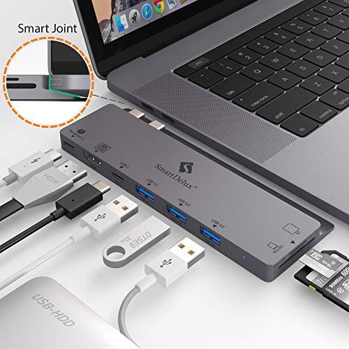 SmartDelux USB C Hub Adapter - 8-in-1 USB-C Hub for MacBook Pro 2016/2018 13&15 - Thunderbolt 3, 4K HDMI Port, USB-C Port, 3 USB 3.0 Ports, SD & Micro SD Card Readers - USB-C-Hub & Case