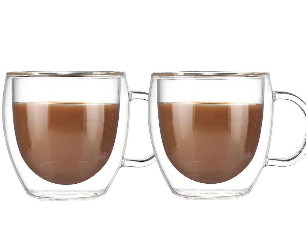 Double Walled Insulated Glass Coffee or Tea Cup with Handle for Espresso Latte Cappuccino, 5.1 oz (150ml), Coffee mugs,Set of 2