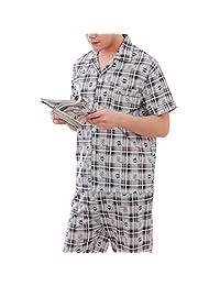 f0d5410d64 HIENAJ Men s Short Sleeve Long Leg Pajamas Basic Cotton Printed Sleep Set  Sleepwear