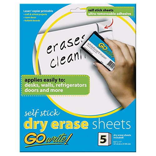 Pacon INVAS8511 GoWrite! Self Stick Dry-Erase Sheets, 8.5