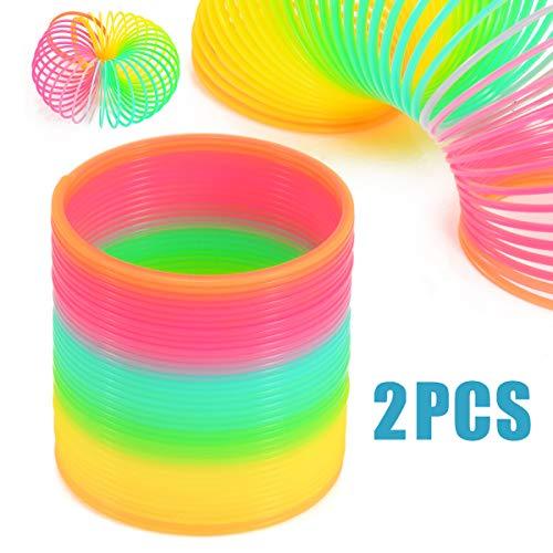 DUUTY Big Slinky Toy Bulk Rainbow Magic Plastic Spring Assorted Colors 2pc Same Style,8.7 cm