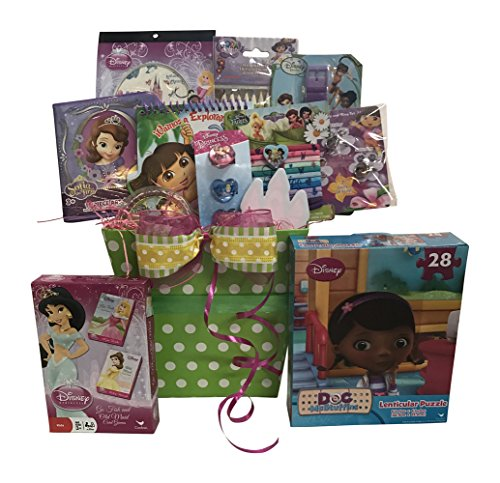 Christmas Gift Baskets for kids a special Dora The Explorer And Disney Princess themed Christmas Gift Basket for girls with Sweet Treats