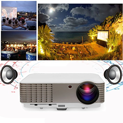 EUG Full HD 1080P LED LCD Image System Home Theatre Cinema Projector 3600 Lumens Multimedia Outdoor Backyard Movie Projectors iPhone iPad Blu-ray Xbox TV Video Game with HDMIx2 USBx2 VGA AV Remote Key by EUG