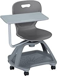 Learniture Shape Series Mobile Tablet Arm Chair with Book Storage, Graphite/Gray, LNT-NES3018STGT-PK-SO