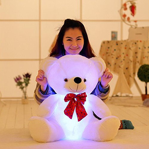 Teddy Costumes Ruxpin (YXCSELL 23 Inches LED Light Up Teddy Bear White Seated Super Soft Birthday Gift Plush Toys Stuffed)