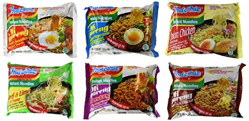 Price comparison product image Indomie Mi Goreng Instant Noodles 6-Flavor Variety: One 2.65 oz Packet Each of Onion Chicken Flavor and Beef & Lime Flavor,  One 2.82 oz Packet Each of Spicy Beef Flavor and Satay Flavor,  and One 3 oz Packet Each of Fried Noodle and Barbeque Chicken Flavor in a Gift Box