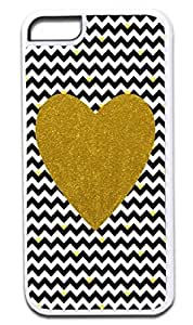 Black and White Chevrons with Hearts-Gold Print Heart - Case for the APPLE IPHONE 6 PLUS ONLY!!!-NOT COMPATIBLE WITH THE REGULAR IPHONE 6!!!-Hard White Plastic Outer Case hjbrhga1544