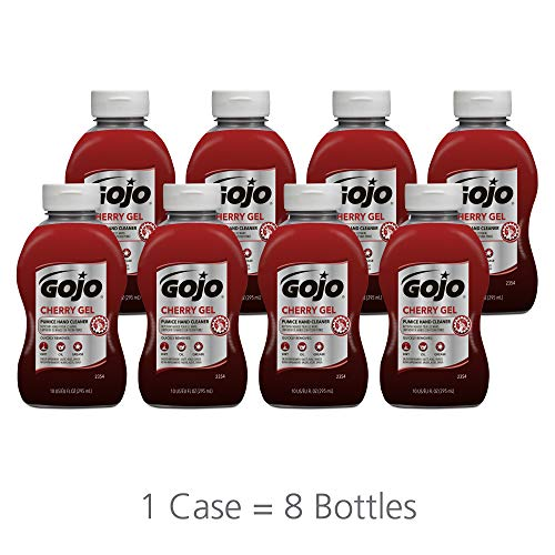 GOJO Cherry Gel Pumice Hand Cleaner, Cherry Fragrance, 10 fl oz Heavy Duty Hand Cleaner Flip Cap Squeeze Bottle (Case of 8) - 2354-08