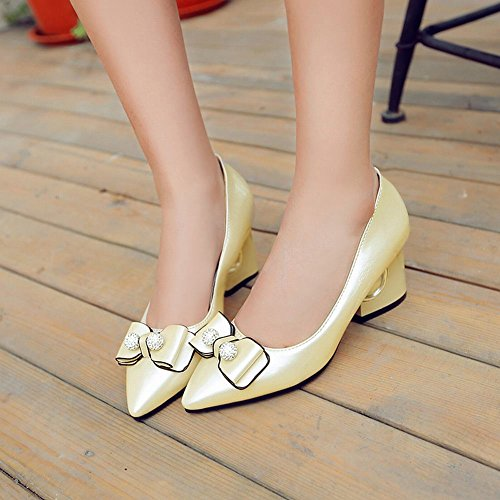 Mee Shoes Womens Sexy Block-heel Bows Court Shoes Gold KDfOo2QY21