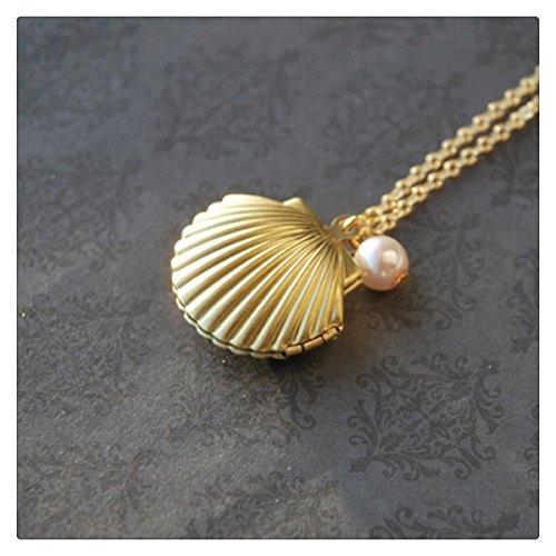 (Seashell Pearl Locket Necklace Seashell Pearl Locket Pendant)