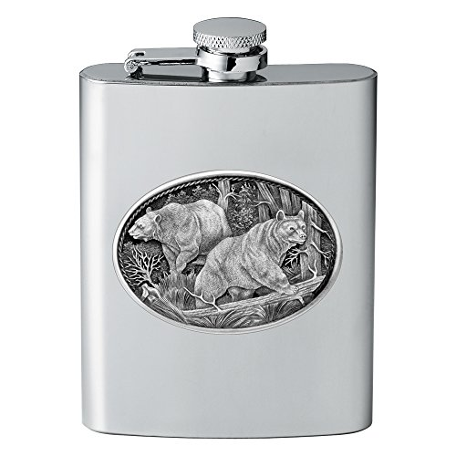 CMC Heritage Pewter Wildlife Black Bears Flask, One Size (Pewter Bear)
