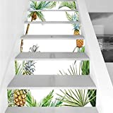 fruit border sticker - Stair Stickers Wall Stickers,6 PCS Self-adhesive,Pineapple,Watercolor Tropical Island Style Border Print Exotic Fruit Palm Trees and Leaves,Multicolor,Stair Riser Decal for Living Room, Hall, Kids Roo