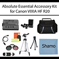 Absolute Essential Accessory Kit For Canon VIXIA HF R20 Full HD Camcorder Includes Extended Replacement BP-110 Battery + AC/DC Travel Charger + Deluxe Case + Mini HDMI Cable + 50 Tripod w/Case + 3PC Filter Kit (UV-CPL-FLD) + USB SD Reader + Much More