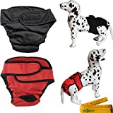 Female Girl Dog Pet Diapers Cover Up Washable Reusable Adjustable Sanitary Panties with Velcro Closure, 2 Pack (Extra Large)