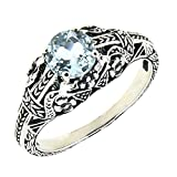 Antique Finished Sterling Silver Genuine Natural Aquamarine Filigree Ring (3/4 CT.T.W)