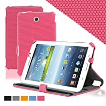 KHOMO ® Slim Folio Cover Case Pink With Hand Strap for Samsung Galaxy Tab 3 7.0'' Tablet (GT-P3200 / 3210)