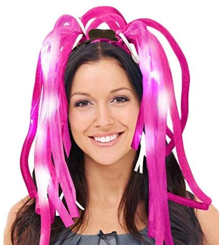 Dazzling Toys LED Light Up Noodle Hair Headband Party Dreads - Pink