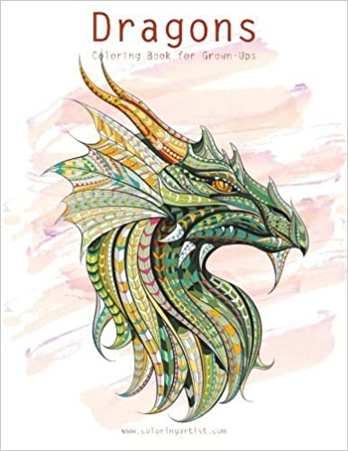 amazoncom dragons coloring book for grown ups 1 2 9781533170125 nick snels books - Coloring Book For Grown Ups
