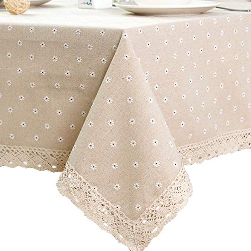 "ColorBird Daisy Flower Cotton Linen Tablecloth Macrame Lace Dustproof Table Cover for Kitchen Dinning Pub Tabletop Decoration (Square, 55"" x 55"", Daisy)"