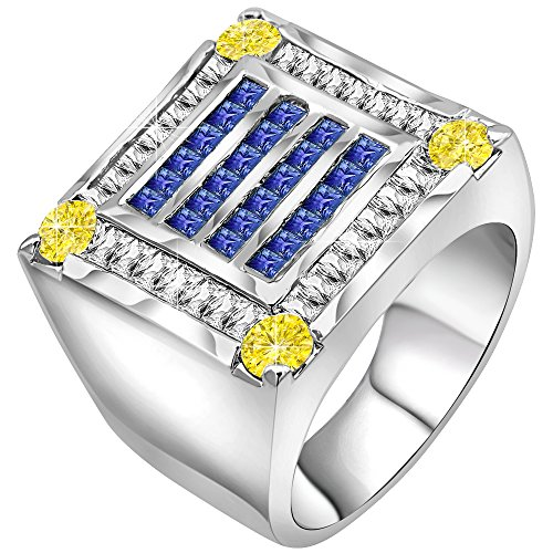 Men's Sterling Silver .925 Ring Featuring 56 Fancy Canary Yellow and Azure Blue Cubic Zirconia (CZ) Stones, Platinum Plated. By Sterling Manufacturers (Cz Rings That Look Real)