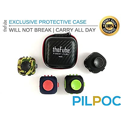 PILPOC theFube Fidget Cube - Premium Quality Fidget Cube Ball with Exclusive Protective Case, Stress Relief Toy (Black & Red): Toys & Games