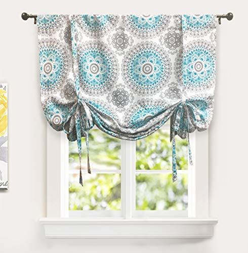 "DriftAway Bella Tie Up Curtain,Medallion/Floral Pattern Room Darkening/Thermal Insulated Blackout Window Curtain, Adjustable Balloon Curtain Shade for Small Window,Rod Pocket,Single,45""x63""(Aqua/Gray)"