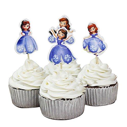 BETOP HOUSE 24-Piece Princess Sofia Decorative Cupcake Toppers -