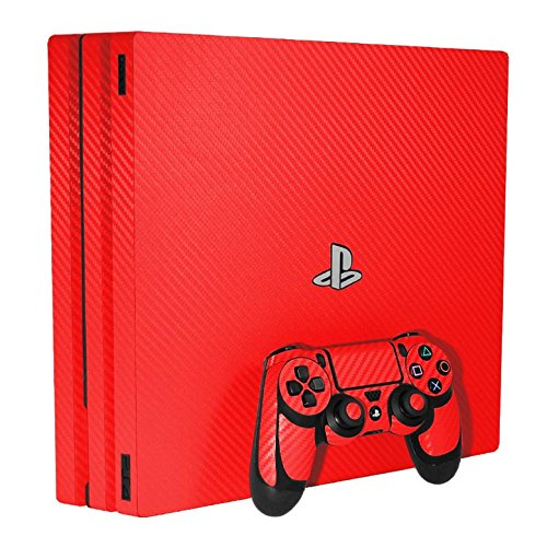 Sony PlayStation 4 Pro Skin (PS4-Pro) - NEW - 3D CARBON FIBER FIRE RED - Air Release vinyl decal console mod kit by System Skins